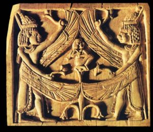 Egyptian religious and magical symbolism influenced the Phoenician carvers of this panel